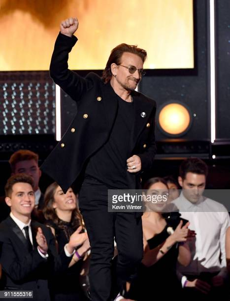 Recording artist Bono of music group U2 walks onstage during the 60th Annual GRAMMY Awards at Madison Square Garden on January 28 2018 in New York...