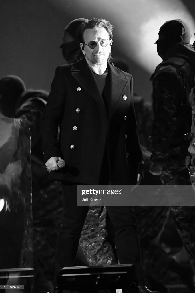 Recording artist Bono of musical group U2 performs onstage during the 60th Annual GRAMMY Awards at Madison Square Garden on January 28, 2018 in New York City.