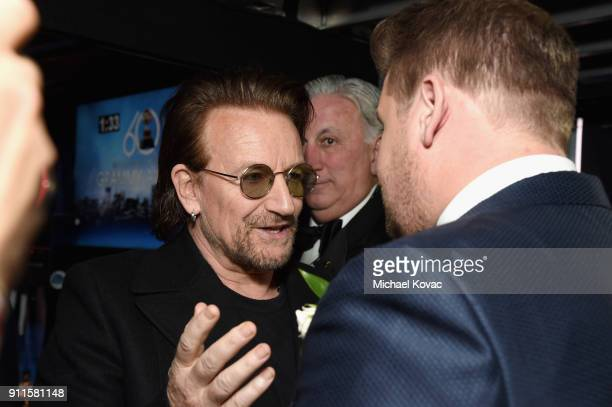 Recording artist Bono of U2 appears backstage during the 60th Annual GRAMMY Awards at Madison Square Garden on January 28 2018 in New York City