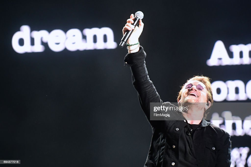 Recording artist Bono of U2 performs onstage at What Stage during Day 2 of the 2017 Bonnaroo Arts And Music Festival on June 9, 2017 in Manchester, Tennessee.