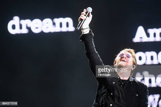 Recording artist Bono of U2 performs onstage at What Stage during Day 2 of the 2017 Bonnaroo Arts And Music Festival on June 9 2017 in Manchester...