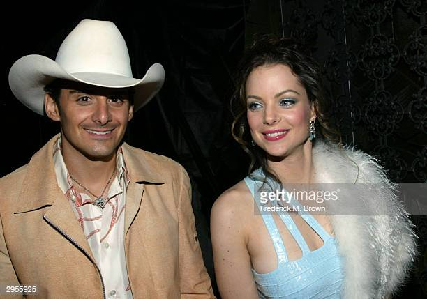 Recording artist Brad Paisley and wife actor Kimberly Williams attend the post Grammy William Morris party at the White Lotus Restaurant/Club on...