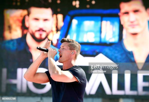 Recording artist Brad Rempel of High Valley performs during the Route 91 Harvest country music festival at the Las Vegas Village on September 29 2017...