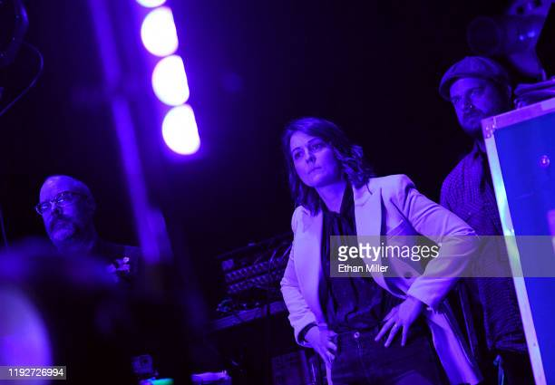 Recording artist Brandi Carlile looks on from the side of the stage as bandmates perform at the Intersect music festival at the Las Vegas Festival...