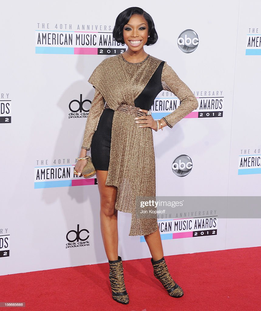 Recording artist Brandy Norwood arrives at The 40th American Music Awards at Nokia Theatre L.A. Live on November 18, 2012 in Los Angeles, California.