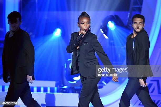 Recording artist Brandy performs onstage during the 2015 Soul Train Music Awards at the Orleans Arena on November 6 2015 in Las Vegas Nevada