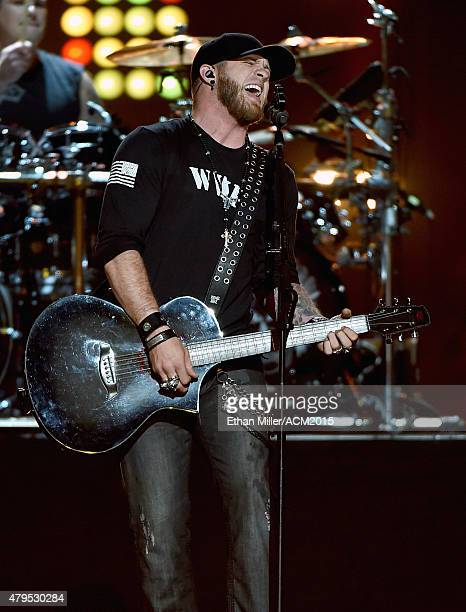 Recording artist Brantley Gilbert performs during ACM Presents Superstar Duets at Globe Life Park in Arlington on April 17 2015 in Arlington Texas
