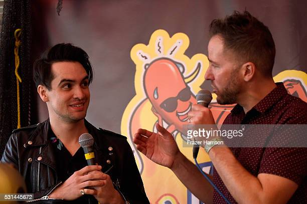 Recording artist Brendon Urie of music group Panic at the Disco and radio personality Ted Stryker participate in an interview session at KROQ Weenie...