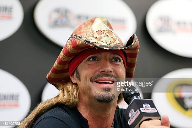 Recording artist Bret Michaels speaks with the media prior to the NASCAR Sprint Cup Series 5Hour ENERGY 301 at New Hampshire Motor Speedway on July...