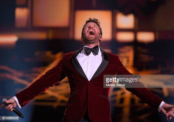 Recording artist Brett Eldredge performs during CMA 2017 Country Christmas at The Grand Ole Opry on November 14 2017 in Nashville Tennessee