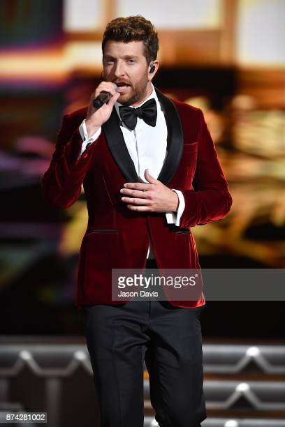 Recording Artist Brett Eldredge performs on stage during 2017 CMA Country Christmas at The Grand Ole Opry on November 14 2017 in Nashville Tennessee