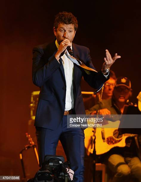 Recording artist Brett Eldredge performs onstage during the 50th Academy Of Country Music Awards All Star Jam at ATT Stadium on April 19 2015 in...