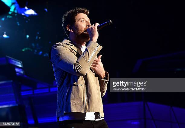 Recording artist Brett Eldredge performs onstage during the 51st Academy of Country Music Awards at MGM Grand Garden Arena on April 3 2016 in Las...