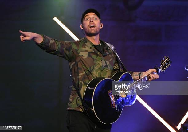 Recording artist Brett Young performs at The Joint inside the Hard Rock Hotel Casino on March 22 2019 in Las Vegas Nevada