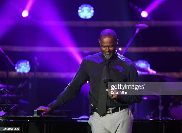 Recording artist Brian McKnight performs during Muhammad Ali's Celebrity Fight Night XXIII at the JW Marriott Desert Ridge Resort Spa on March 18...