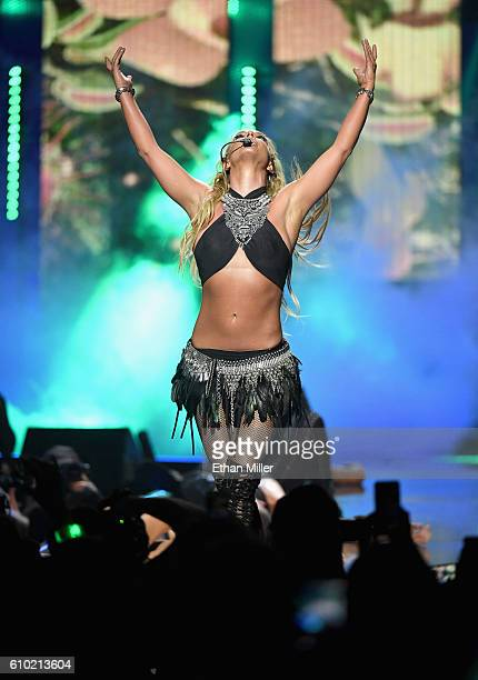 Recording artist Britney Spears performs onstage at the 2016 iHeartRadio Music Festival at TMobile Arena on September 24 2016 in Las Vegas Nevada