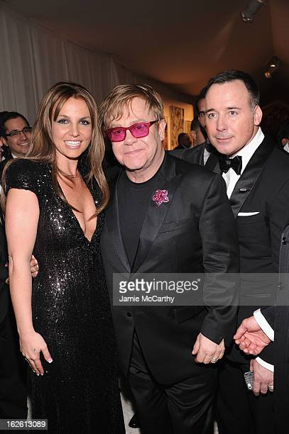 Recording Artist Britney Spears Sir Elton John and David Furnish attend the 21st Annual Elton John AIDS Foundation Academy Awards Viewing Party at...