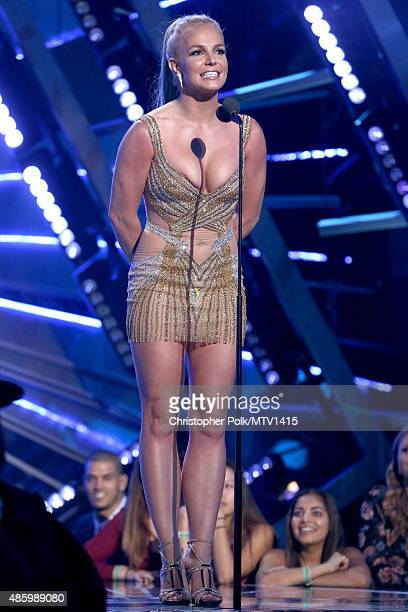 Recording artist Britney Spears speaks onstage during the 2015 MTV Video Music Awards at Microsoft Theater on August 30 2015 in Los Angeles California