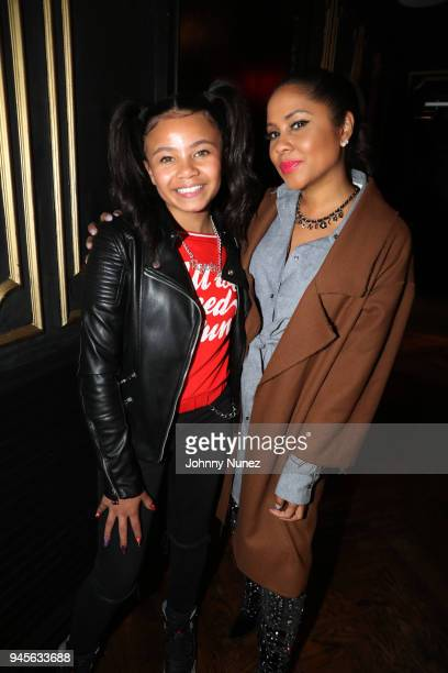 Recording artist Brooklyn Queen and radio personality Angela Yee attend the 2018 Brooklyn Queen Dinner Hosted By Angela Yee at Sugar Factory NYC on...