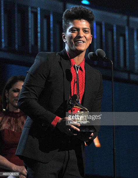 Recording artist Bruno Mars accepts award onstage during the 56th GRAMMY Awards at Staples Center on January 26 2014 in Los Angeles California