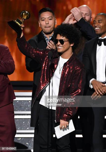 Recording artist Bruno Mars accepts Song of the Year for 'That's What I Like' onstage during the 60th Annual GRAMMY Awards at Madison Square Garden...