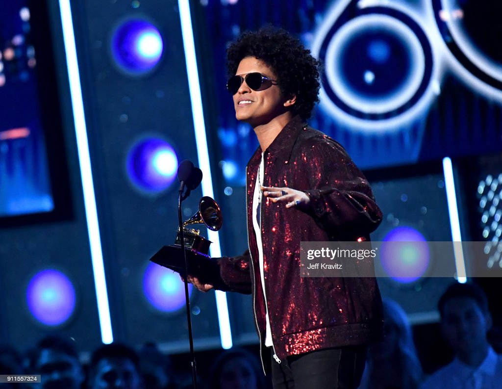 Recording artist Bruno Mars accepts the award for Album of the Year onstage during the 60th Annual GRAMMY Awards at Madison Square Garden on January 28, 2018 in New York City.