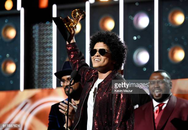 Recording artist Bruno Mars accepts the award for Album of the Year during the 60th Annual GRAMMY Awards at Madison Square Garden on January 28 2018...