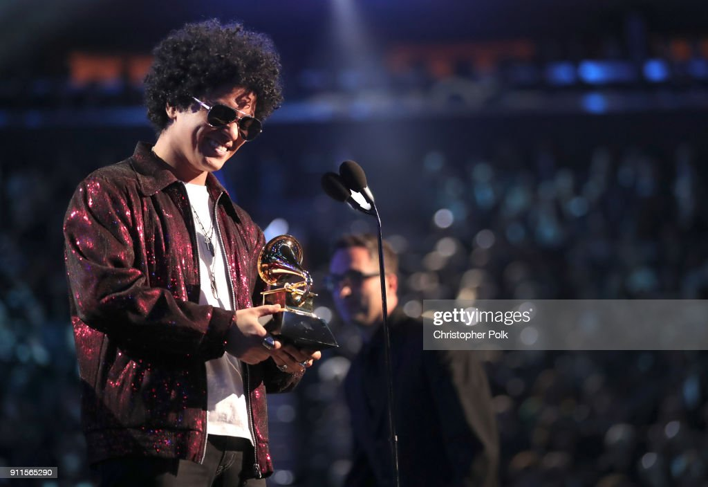 Recording artist Bruno Mars accepts the award for Album of the Year during the 60th Annual GRAMMY Awards at Madison Square Garden on January 28, 2018 in New York City.