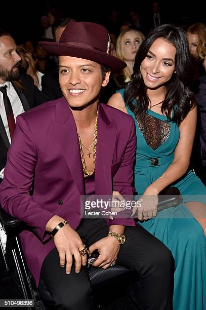 Recording artist Bruno Mars and Jessica Caban attend The 58th GRAMMY Awards at Staples Center on February 15 2016 in Los Angeles California