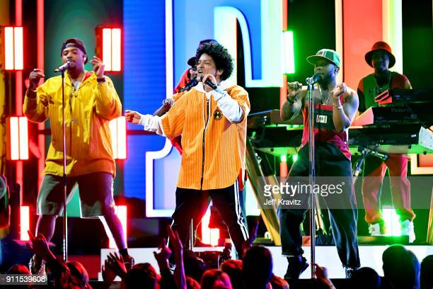 Recording artist Bruno Mars and The Hooligans perform onstage during the 60th Annual GRAMMY Awards at Madison Square Garden on January 28 2018 in New...