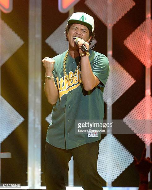 Recording artist Bruno Mars performs onstage during 1027 KIIS FM's Jingle Ball 2016 at Staples Center on December 2 2016 in Los Angeles California