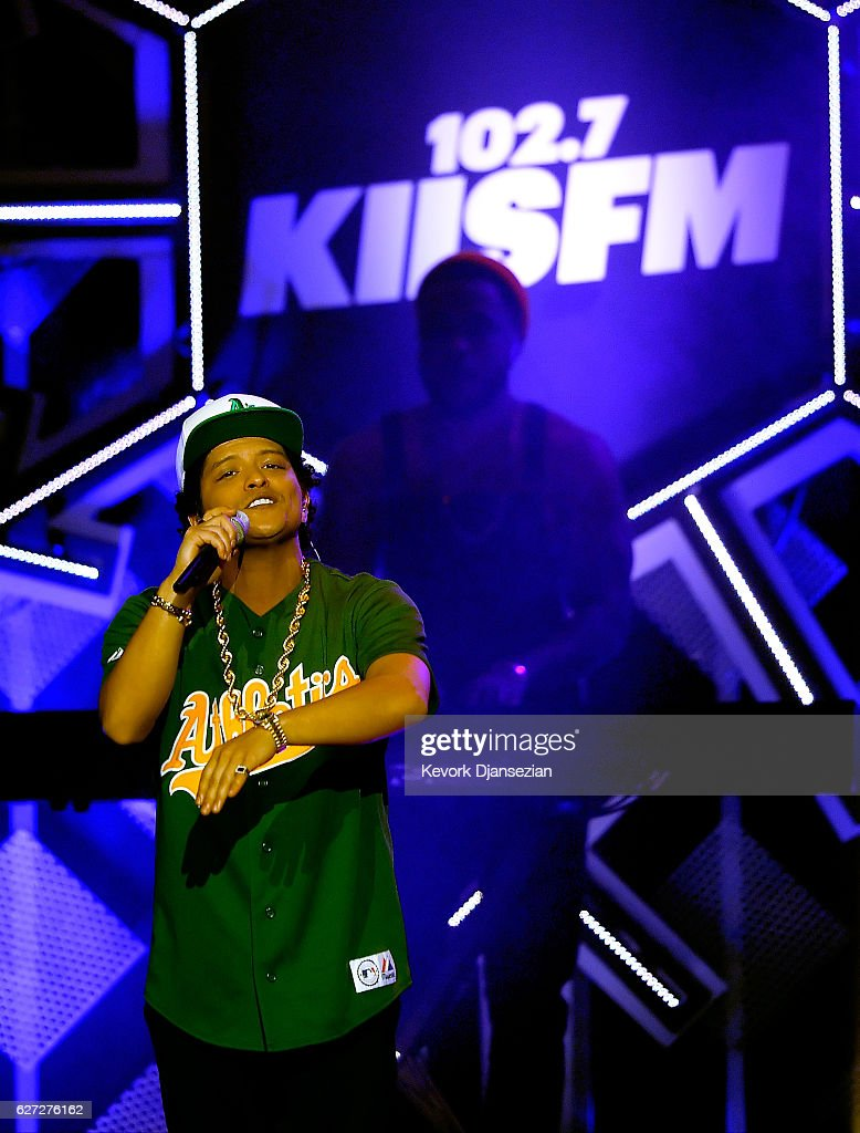 Recording artist Bruno Mars performs onstage during 102.7 KIIS FM's Jingle Ball 2016 at Staples Center on December 2, 2016 in Los Angeles, California.
