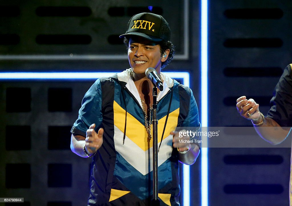 Recording artist Bruno Mars performs onstage during the 2016 American Music Awards held at Microsoft Theater on November 20, 2016 in Los Angeles, California.