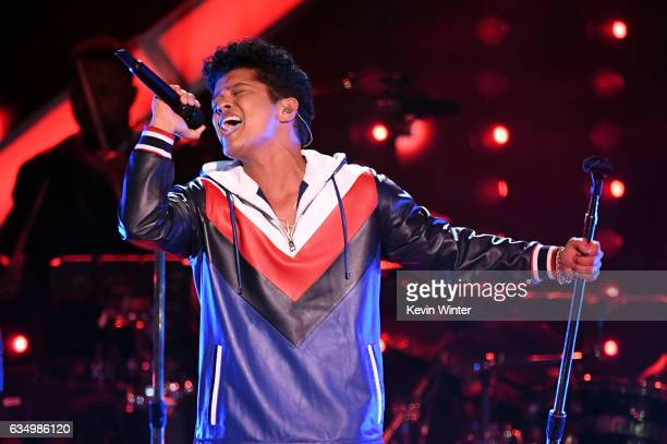 Recording artist Bruno Mars performs onstage during The 59th GRAMMY Awards at STAPLES Center on February 12, 2017 in Los Angeles, California.