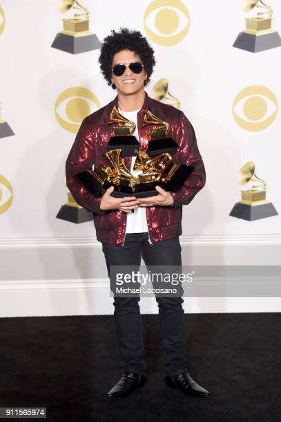 Recording artist Bruno Mars, winner of the Record of the Year award for '24K Magic,' Album Of The Year award for '24K Magic,' Song of the Year award...
