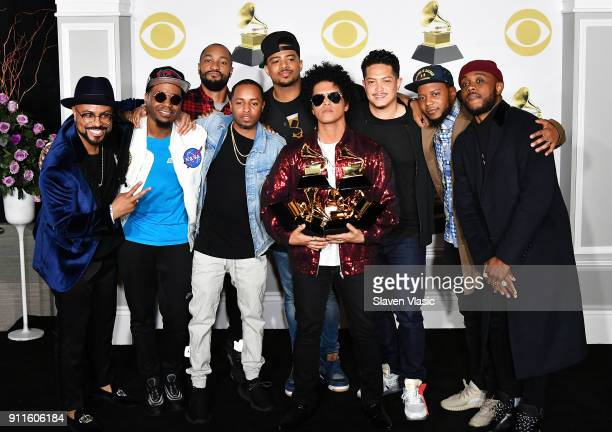 Recording artist Bruno Mars winner of the Record of the Year award for '24K Magic' Album Of The Year award for '24K Magic' Song of the Year award for...