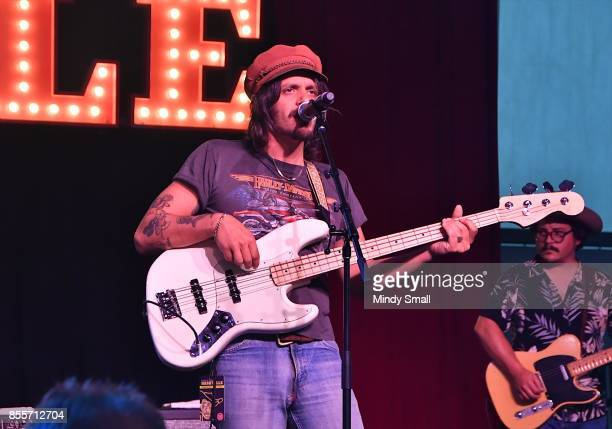 Recording artist Cameron Duddy of Midland performs during the Route 91 Harvest country music festival at the Las Vegas Village on September 29 2017...