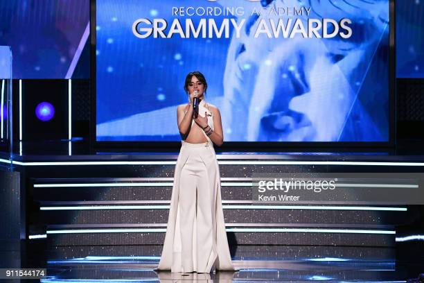 Recording artist Camila Cabello speaks onstage during the 60th Annual GRAMMY Awards at Madison Square Garden on January 28 2018 in New York City