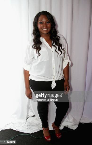 Recording artist Candice Glover attends Radio Remote Room Day 2 during the 2013 BET Awards at JW Marriot at LA Live on June 29 2013 in Los Angeles...