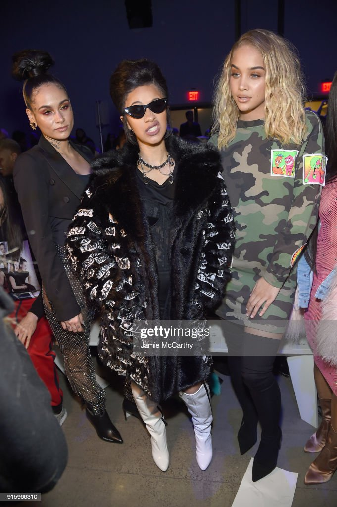 ___, recording artist Cardi B and actor Jasmine Sanders attend the Jeremy Scott front row during New York Fashion Week: The Shows at Gallery I at Spring Studios on February 8, 2018 in New York City.