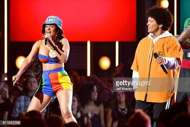 Recording artist Cardi B and Bruno Mars perform onstage during the 60th Annual GRAMMY Awards at Madison Square Garden on January 28 2018 in New York...