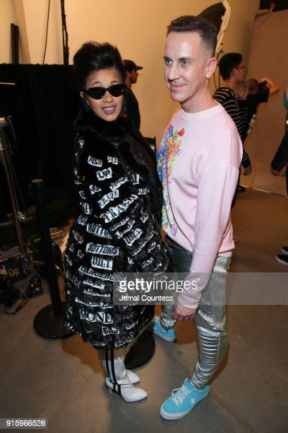 Recording artist Cardi B and designer Jeremy Scott pose backstage for Jeremy Scott during New York Fashion Week The Shows at Gallery I at Spring...