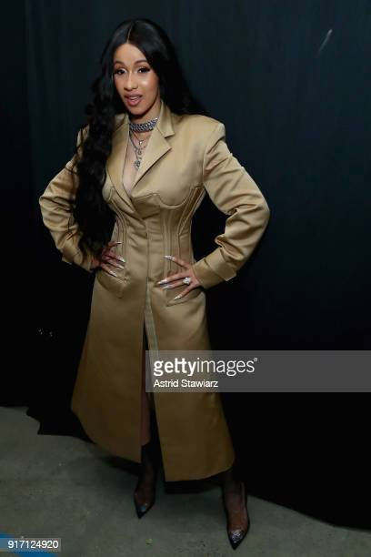Recording artist Cardi B poses backstage for Prabal Gurung during New York Fashion Week The Shows at Gallery I at Spring Studios on February 11 2018...