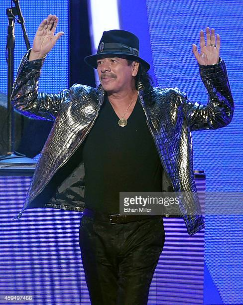 Recording artist Carlos Santana performs during the 15th annual Latin GRAMMY Awards at the MGM Grand Garden Arena on November 20 2014 in Las Vegas...