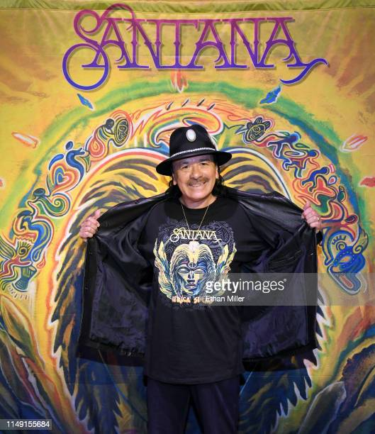 Recording artist Carlos Santana poses during a listening event for his upcoming album Africa Speaks featuring singer Buika at the House of Blues Las...
