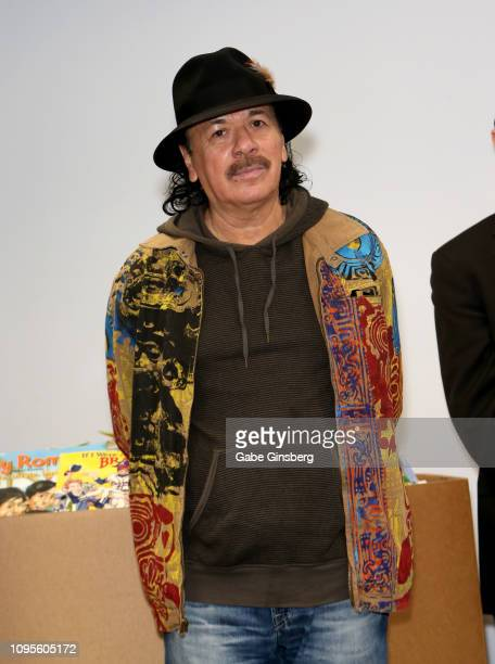 Recording artist Carlos Santana speaks after making a donation at Spread the Word Nevada on January 17 2019 in Henderson Nevada