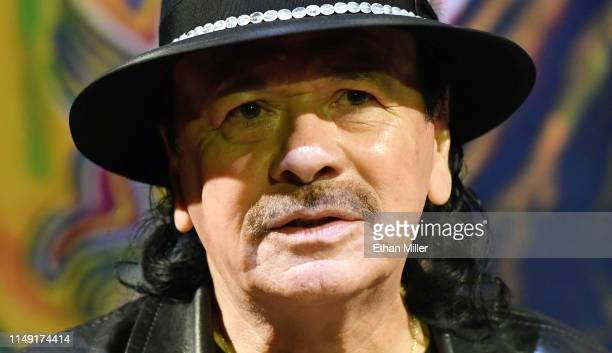 Recording artist Carlos Santana speaks during a listening event for his upcoming album Africa Speaks featuring singer Buika at the House of Blues Las...