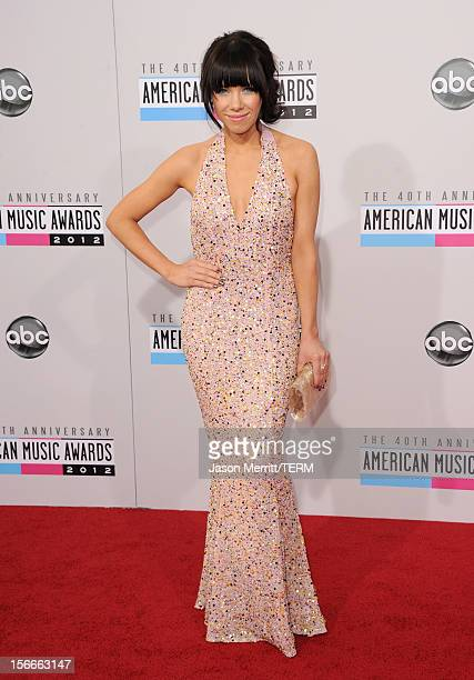 Recording artist Carly Rae Jepsen poses in the press room at the 40th American Music Awards held at Nokia Theatre LA Live on November 18 2012 in Los...