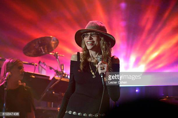 Recording artist Carly Simon performs onstage during the 2016 PreGRAMMY Gala and Salute to Industry Icons honoring Irving Azoff at The Beverly Hilton...