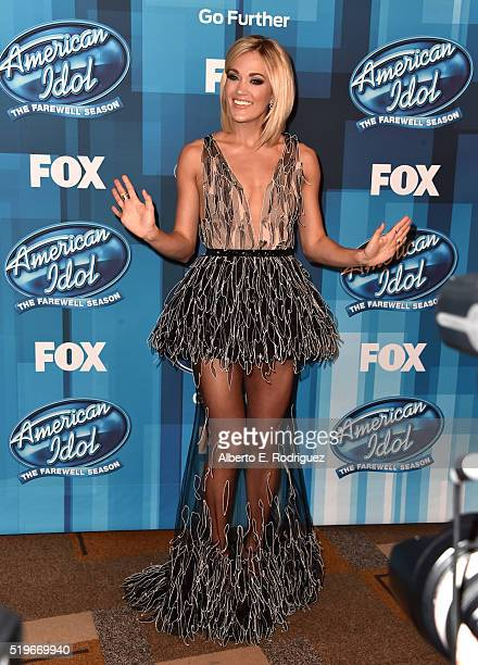 Recording artist Carrie Underwood attends FOX's American Idol Finale For The Farewell Season at Dolby Theatre on April 7 2016 in Hollywood California...